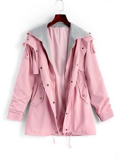 SHARE & Get it FREE | Zip Up Hooded Coat With Pockets - Pink MFor Fashion Lovers only:80,000+ Items • New Arrivals Daily Join Zaful: Get YOUR $50 NOW!