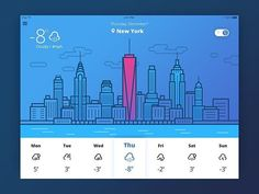 Logo inspiration: Weather UI by @tubikstudio Hire top quality creatives to grow your business at Twine. Twine can help you get a web design, web inspiration, website design, logo, graphic design, branding, ux design, ui design and more.