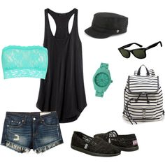 Theme Park Outfit by maurica-lacey on Polyvore featuring rag & bone/JEAN, Hanky Panky, Rebecca Minkoff, Toy Watch, Ray-Ban and Brixton