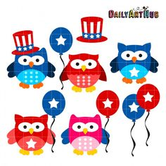 4th Of July Owls from Daily Art Hub (One day freebie with SVGs and Clip art) 6-10-15