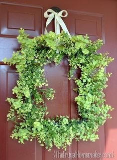 Spring wreath - hot glue greenery to a square picture frame