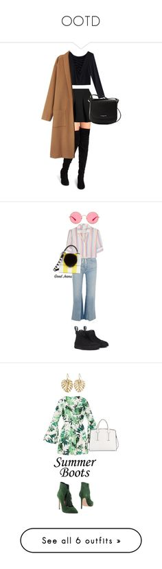 """""""OOTD"""" by strngrrr ❤ liked on Polyvore featuring T By Alexander Wang, Lancaster, RE/DONE, Solid & Striped, Ray-Ban, Les Petits Joueurs, Anna F., French Connection, The Sak and summerboots"""