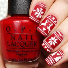Red winter manicure
