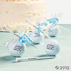 Personalized Golf balls and Tees as Favors! This is sooo us! If he wasn't already married on a golf course before to the first joke that could of been our ideal venue! Oh well our wedding will be much better, but these favors so far are our top pick!