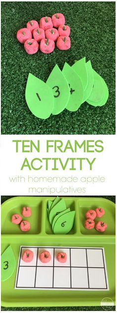Apple Ten Frames Activity - this is such a fun learning activity to help toddler, preschool, prek, and kindergarten age kids understands ten frames and counting with a cute back to school, fall themed, apple manipulative.