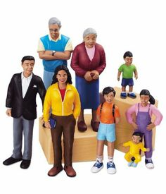 Pretend and Play People - Hispanic Family by Lakeshore Learning Materials. $19.99. Our super-realistic play people are perfect for populating pretend cities and toy towns...and they're so durable, we guarantee them for 10 full years! Each sturdy figure in our Hispanic dramatic play family has up-to-date styling and plenty of authentic details. Plus, each figure is specially molded to actually stand--for added realism and frustration-free play! The 8-piece Hispanic family includes...