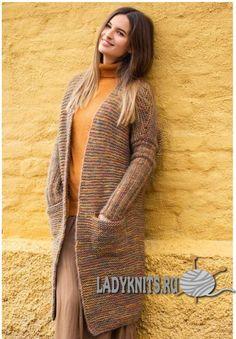 Вязаный спицами простой длинный кардиган спицами Cardigan Pattern, Crochet Cardigan, Knit Crochet, Knit Basket, Garter Stitch, Warm Coat, Sweater Coats, Knit Patterns, Mantel
