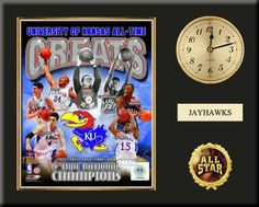 """One 8 x 10 inch University of Kansas photo of University Of Kansas Jayhawks  inserted in a gold slide-in frame and mounted on a 12 x 15 inch solid black finish plaque.  Also features a 3-inch Arabian gold-faced clock, a customizable nameplate* and a 2-inch """"ALL STAR"""" insert with a gold base.  $59.99  @ ArtandMore.com"""