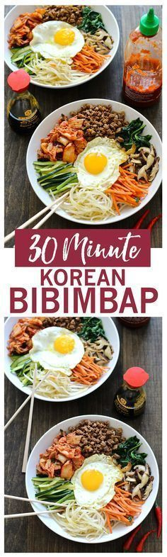 30 Minute Korean Bibimbap Recipe   A mixt of sesame fried vegetables, minced beef & kimchi, served with rice & a fried egg