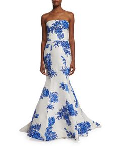 Strapless Floral-Print Mermaid Gown, Cobalt by Monique Lhuillier at Neiman Marcus.