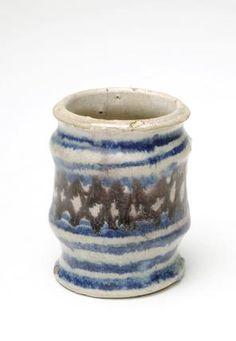 Tin-glazed drug jar: 1601-1633 made in Southwark London