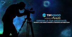 Al via la seconda edizione del #TIMvisionAwards, un grande concorso per filmaker con una prestigiosa giuria.  Partecipa con le tue opere originali oppure cimentati nel montaggio del trailer di un vero film. I video in concorso saranno votati dal pubblico della rete e da una Giuria di qualità composta da grandi professionisti del cinema italiano. #Film #Cinema #TIMvisionAwards #WebFilmAwards #FilmAwards #TIMvision