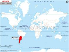 Où est l'Argentine - Location map of #Argentina on World map.