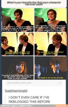 Emma and Rupert talk about their favorite lines