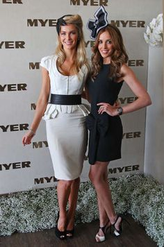 Jennifer Hawkins and Bec Judd Derby Day 2011 Race Day Outfits, Outfits 2016, Outfits With Hats, Cute Outfits, Melbourne Cup Fashion, Race Day Fashion, Races Fashion, Horse Racing Party, Kentucky Derby Fashion