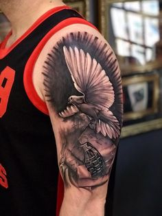 Dove and Hand Grenade tattoo by Cristian! Limited availability at Revival Tattoo Studio! Arm Tattoos, Sleeve Tattoos, Grenade Tattoo, Black And Grey, Gray, Tattoo Studio, Royals, Ink, Inspiration