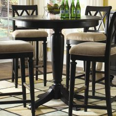 American Drew Camden - Dark Bar Height Gathering Table with Splat Back Stools - Johnny Janosik - Pub Table and Stool Set Delaware, Maryland, Virginia, Delmarva Round Counter Height Table, Bar Height Dining Table, Round Bar Table, Dining Room Table, Kitchen Tables, Dining Chairs, Round Kitchen, Kitchen Nook, Room Chairs