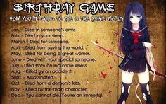 """How are you going to die in the anime world. I got """"died from a demon's kiss"""" I Love Anime, All Anime, Otaku Anime, Manga Anime, Birthday Scenario Game, Birthday Games, 60th Birthday, Anime Zodiac, Name Generator"""