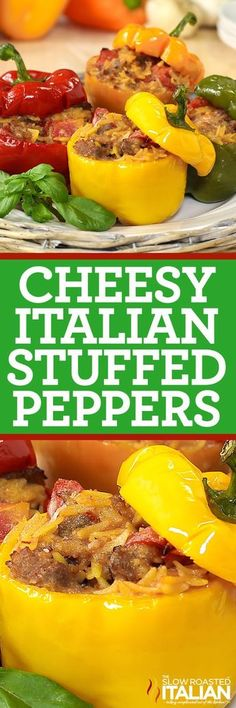 Cheesy Italian Stuffed Peppers start with cheesy Italian sausage, fire roasted tomatoes and orzo pasta. It only gets better from there. An easy recipe that goes from prep to plate in 30 minutes makes this one a keeper! Pork Recipes, Cooking Recipes, Healthy Recipes, Beef Dishes, Food Dishes, Main Dishes, Italian Dishes, Italian Recipes, Italian Stuffed Peppers