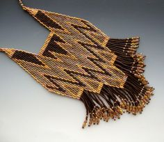 Jewelry Beaded Bib Necklace Brown Gold by CalliopeAZCreations, $110.00