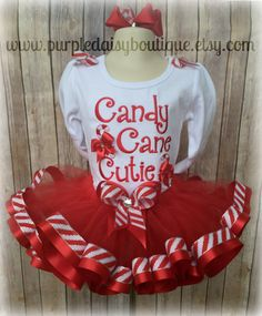 Candy Cane Cutie Red and White Ribbon Trim by PurpleDaisyBoutique Ribbon Tutu, Fabric Tutu, Christmas Tutu Dress, Christmas Ribbon, Tutu Tutorial, Diy Tutu, Tutu Outfits, Tutu Costumes, White Ribbon