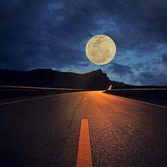 Moon on road