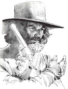Drawing by Moebius/Jean Giraud Probably Alejandro Jodorowsky for his movie El Topo (1970) This image is actually flipped, as you can see in the signature.