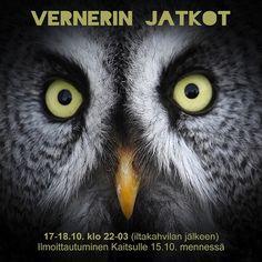 Vernerin Jatkot -nuortenilta heti kahvilan jälkeen pe 17.10. klo 22. Ennakkoilmoittautuminen Kaitsulle 15.10. mennessä!