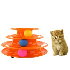 Plastic Three Levels Tower Tracks Balls Disc Cat Pet Toy Amusement Shelf Triple Play Station Gatos Jouet Chat Katten Speelgoed //Price: $14.00      #sale