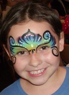 Mardi Gras Mask Face Painting by Linda #facepaintingbusiness #facepaintingbooth