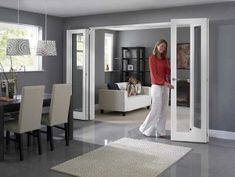 The Inspire White Internal bifold doors and room dividers fold back against your walls to give you a stunning way to transform rooms, whether you want one room or two. White Bifold Doors, Bifold French Doors, Sliding Doors, Door Dividers, Folding Room Dividers, Glass Room Divider, Room Divider Doors, Living Room Kitchen Partition, Bi Fold Doors Internal