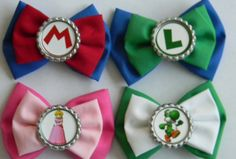 Super Mario Bros Inspired Hair Bow Collection by PigtailsnCurls {I want the Mario and luigi so baddd}