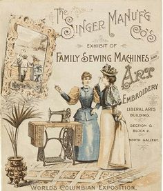 Vintage - The Singer Manuf'g Cp Sewing Machings World's Columbian Exposition Chicago 1893 Vintage Labels, Vintage Ephemera, Vintage Cards, Vintage Paper, Vintage Buttons, Images Vintage, Vintage Pictures, Vintage Ideas, Etiquette Vintage