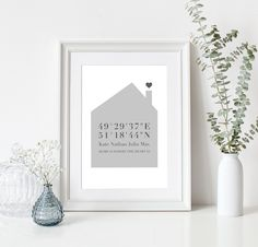 """Geschenke für die Feiertage  Personalisierte Plakat """"Home is where the heart is"""" die Koordinaten Ihres Hauses / Wohnung und Haushalt Namen.  Die einzigartige Dekoration Ihrer Wände oder das..."""