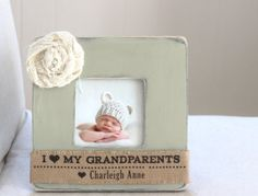 Grandparents Day GIFT Personalized Burlap Picture Frame. Mothers Day Fathers Day Grandparents Day on Etsy, $28.00