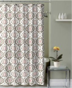 Crest Home Southport Shower Curtain Taupe And Coral Damask Medallion  Decorative Fabric