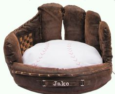 This baseball bed looks so plush and cozy! | 41 Insanely Clever Products Your Dog Deserves To Own