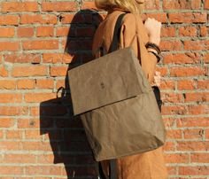 Chocolate Urban Backpack Brown Unisex Women Men Bag Eco Friendly Vegan Ecobag Rucksack Streetstyle Laptop Backpack Washable Kraft Paper