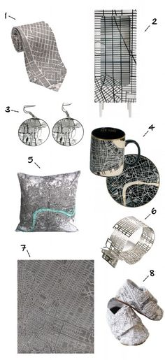 Pattern Play focuses on trendy stuff based on street maps.  1. San Francisco City Plan Tie from Planetizen  2. Trip Cabinet from Seletti  3. Chicago Map Earrings from Aminimal  4. New York Mug and London Plate from Seletti  5. London Map Pillow from My Bearded Pigeon  6. Toronto Map Ring by Anna Lindsay MacDonald   7. Manhattan Rug from the Nought Collective  8. Paris Booties from Eden & Eliot