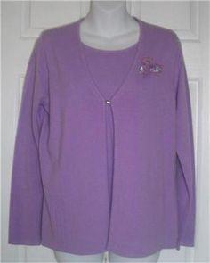 DESIGNERS ORIGINALS Sweater Top Small Lavender Luxelon S Acrylic Purple Solid #DesignersOriginals #AttachedTop