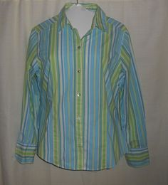CHICO'S Women Sz 1 =S(8) Button Up Fitted Top/Blouse Long Slv Blue Green Stripe  #Chicos #ButtonDownShirt #Career