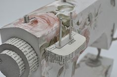 Jennifer Collier | Sewing machine made from book pages and floral cardboard