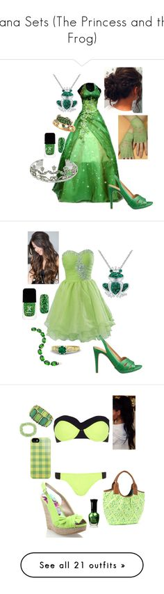 """""""Tiana Sets (The Princess and the Frog)"""" by briony-jae ❤ liked on Polyvore featuring home, children's room, children's bedding, disney, characters, disney characters, other, cartoons, Formula X and Effy Jewelry"""