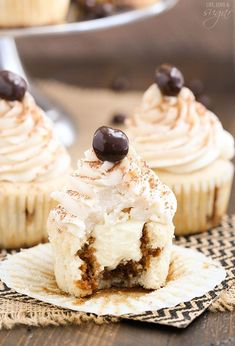 These Tiramisu Cupcakes are drizzled with an espresso Kahlua mixture, filled with tiramisu filling and topped with a light Kahlua mascarpone buttercream.