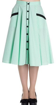Hell Bunny Martie 50's Skirt in Mint | Blame Betty