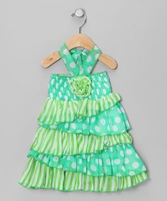 Take a look at this Green Polka Dot Halter Dress - Infant by Lele for Kids on #zulily today!