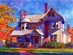 October Chimneys by Carl Dalio Building Art, Various Artists, Doodle Art, Impressionism, Art Supplies, Watercolor Art, Knight, October, Doodles