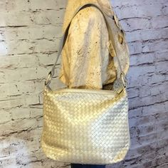 BEAUTIFUL HANDWOVEN LEATHER BAG BY PARISIAN Very pretty bag with woven leather in a gorgeous gold tone color.  NWOT Parisian Bags Shoulder Bags
