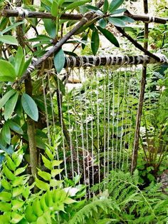 "Directions for a natural outdoor loom. Cut long herbs/branches/flowers as part of gardening process and weave in. I like the idea of weaving ""things you want to remember"" into the loom."