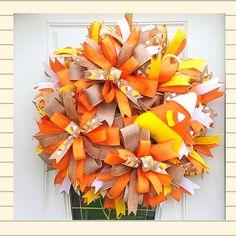 Fall Candy Corn Wreath, Fall Door Decoration, Autumn Door Decor, Candy Corn Wall Decor,Fall Gift Turkey Wreath, Dog Wreath, Wreath Fall, Autumn Wreaths, Holiday Wreaths, Mesh Wreaths, Fall Door Decorations, Easter Bunny Decorations, Fall Decor